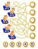 Los ejercicios para los niños - necesite solucionar ejemplos y escribir los números en círculos relevantes Foto de archivo libre de regalías
