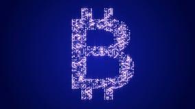los electrones móviles de una placa de circuito futurista 4k formaron la muestra de moneda del bitcoin ilustración del vector