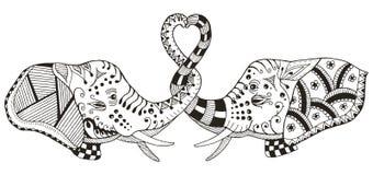 Los elefantes que hacen el corazón forman con los troncos, zentangle estilizado, VE Imagen de archivo libre de regalías