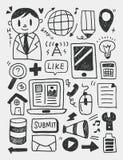 Los elementos de la educación garabatean la línea dibujada mano icono, eps10 Imagenes de archivo