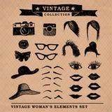 Los elementos 1 de la mujer del vintage Foto de archivo libre de regalías