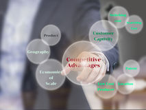 Los elementos de las ventajas competitivas en la pantalla virtual, presente Fotos de archivo