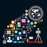 Los elementos de los iconos del negocio son pequeños iconos que las finanzas hacen en hombre piensan concepto Ilustración del vec Foto de archivo