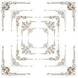 Los elementos decorativos antiguos, fijaron las esquinas para el diseño Imagen de archivo libre de regalías