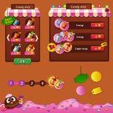 Los elementos del diseño del interfaz del juego Imagenes de archivo