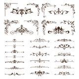 Los elementos del diseño del vintage del vector confinan esquinas de los ornamentos de los marcos Foto de archivo libre de regalías