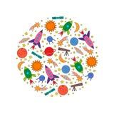 Los elementos del espacio alcanzan gran altura rápida y súbitamente, planeta, estrella, cometa, UFO en un círculo libre illustration