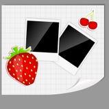 Los elementos del libro de recuerdos con las fotos enmarcan vector ilustración del vector
