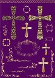Los elementos del vintage y las cruces de oro para pascua diseñan Imagen de archivo libre de regalías