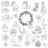 Los elementos determinados del icono de la Navidad se pueden utilizar para el advenimiento Imagen de archivo