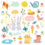 Los elementos dibujados mano determinada de la primavera florecen las guirnaldas de los pájaros y otros símbolos del verano vecto Fotos de archivo libres de regalías