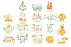 Los elementos dibujados mano para el logotipo caligráfico del verano diseñan Vacaciones de la playa y conceptos calientes de la v ilustración del vector