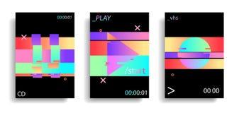 Los elementos glitched que oscilan olográficos juegan, circundan, se detienen brevemente botón Efecto de la interferencia VHS ret ilustración del vector