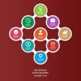 Los elementos infographic del negocio, gráfico de sectores, negocio caminan, diseño plano Foto de archivo libre de regalías