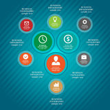 Los elementos infographic del negocio, gráfico de sectores, negocio caminan, diseño plano Imagen de archivo libre de regalías