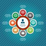 Los elementos infographic del negocio, gráfico de sectores, negocio caminan, diseño plano Fotos de archivo