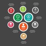 Los elementos infographic del negocio, gráfico de sectores, negocio caminan, diseño plano Imagenes de archivo