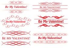 Los elementos para el diseño - sea mi tarjeta del día de San Valentín Foto de archivo