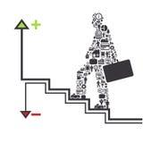 Los elementos son pequeños iconos que las finanzas hacen en concepto del hombre de negocios Ilustración del Vector