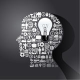 Los elementos son pequeños iconos que las finanzas hacen en hombre piensan Libre Illustration