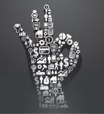 Los elementos son pequeños iconos que las finanzas hacen en la autorización de la dimensión de una variable de los dedos. Vecto Libre Illustration
