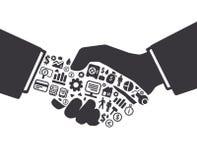 Los elementos son pequeños iconos que las finanzas hacen en mano activa del hombre de negocios Ilustración del Vector