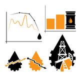 Los elementos y el diagrama de la industria caen y subida de precios del petróleo Foto de archivo libre de regalías