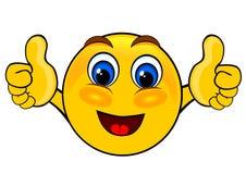Los emoticons de la sonrisa manosean con los dedos para arriba Imagenes de archivo
