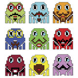 Los emoticons del inconformista 2 del robot de Pixelated inspirados por mostrar video de los juegos de ordenador del vintage de l Imagen de archivo