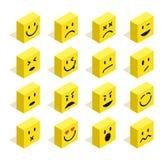 Los Emoticons isométricos planos fijaron el ejemplo Foto de archivo