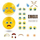 Los emoticons sonrientes tristes amarillos fijaron, emoji, ejemplo del vector Foto de archivo libre de regalías
