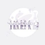 Los empresarios agrupan el escritorio creativo de trabajo de Team Business People Sitting Office stock de ilustración