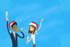 Los empresarios celebran Feliz Navidad y felices Fotografía de archivo