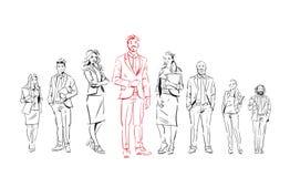 Los empresarios del bosquejo combinan estancia en el fondo blanco, líder delante del equipo de ejecutivos acertados, grupo integr ilustración del vector