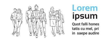 Los empresarios del bosquejo combinan paso adelante en el fondo blanco, líder delante del equipo de ejecutivos acertados, por com ilustración del vector