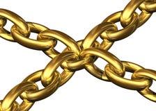 Los encadenamientos de oro guardaron el toghether al lado de un elemento de cadena central Foto de archivo libre de regalías