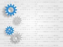 Los engranajes en el fondo de dígitos representan el concepto de innovación y de ingeniería Fondo de la tecnología Ilustración de ilustración del vector