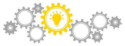 Los engranajes horizontales confinan la idea Gray And Yellow de los gráficos ilustración del vector