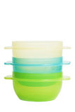 Los envases de alimento plásticos tienen gusto del tupperware Imagen de archivo libre de regalías