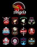 Los equipos de deportes High School secundaria, universidad y universidad vector insignias del color Imagenes de archivo