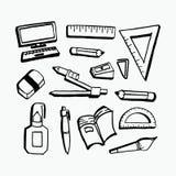 Los equipos del estudiante de nuevo a objetos dibujados mano del icono del tema de la escuela fijaron aislado en el fondo blanco libre illustration