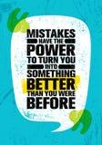 Los errores tienen el poder de darle vuelta en algo mejor que usted estaba antes Cita creativa inspiradora de la motivación ilustración del vector