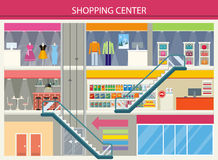 Los escaparates del centro comercial diseñan completamente ilustración del vector