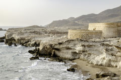 Los escullos, cabo de gata, andalusia, spain, europe, castle of st. felipe Royalty Free Stock Photo