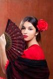 Los españoles gitanos de la rosa del rojo de la mujer del bailarín del flamenco avientan Imagen de archivo libre de regalías