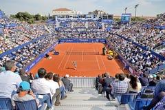 Los espectadores en el ATP Barcelona abren el banco Sabadell Imagen de archivo