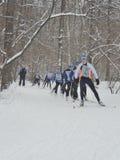 Los esquiadores hacen la raza Foto de archivo