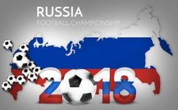 Los estadios 2018 en el fútbol 3d del fútbol de Rusia rinden diseño stock de ilustración