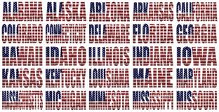 Los estados americanos de A a M señalan palabras por medio de una bandera Foto de archivo