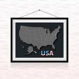 Los estados de los E.E.U.U. trazan en el marco de la foto colgado en la pared Foto de archivo